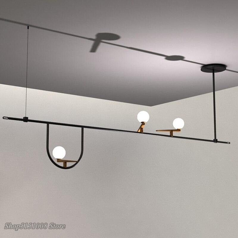 Nordic Designer Vogel Kronleuchter Beleuchtung Metall Glas Shades Suspension Licht Molekulare Linie Led Anhänger Lampe Leuchten