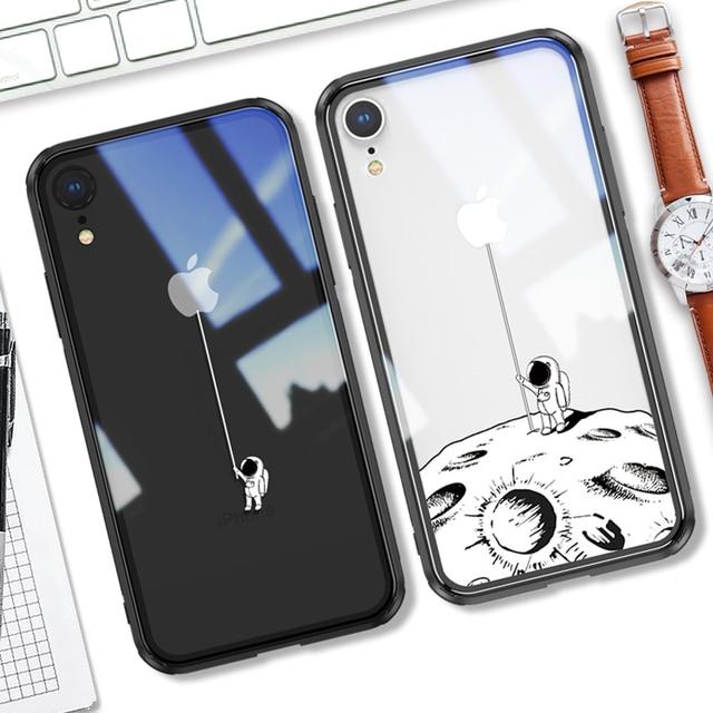 Чехол из закаленного стекла для iPhone X XR xs max, 6d взрывозащищенный прозрачный стеклянный чехол с рисунком для девушек, стеклянный чехол для iphone xr xs max