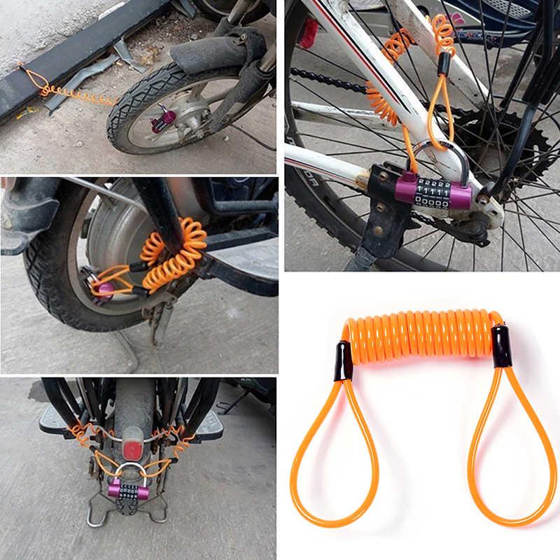 Spewprp 120 Cm Motor Rem Disc Kunci Skuter Pengingat Kabel Sepeda Musim Semi Tali Tas Anti-Theft Pelindung Kabel Alarm kunci