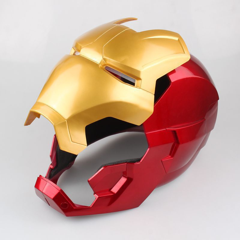 [Funny] The avengers super hero Iron Man Helmet electronic Mask PVC Figure Toy with LED Light Collection Model adult Size 4