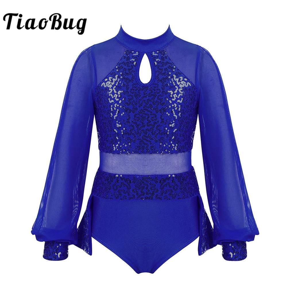 TiaoBug Kids Girls Shiny Sequins Split Long Sleeves Tulle Splice Ballet Gymnastics Leotard Dress Stage Performance Dance Costume