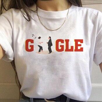 Mujer Ullzang Mia Wallace camiseta Pulp Fiction estética Harajuku divertida camiseta Vintage Grunge camiseta gráfica de los años 90 camiseta femenina