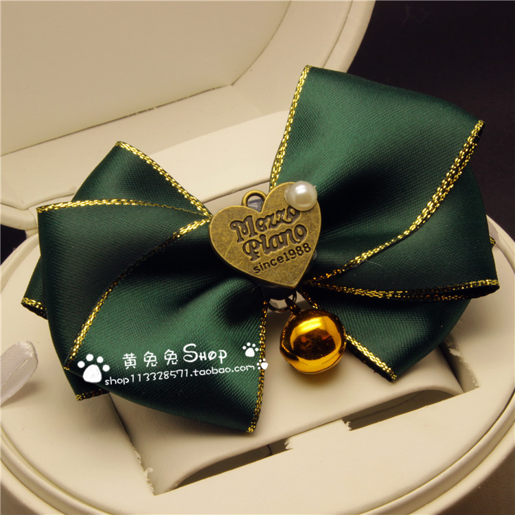 Handmade Pet Dog Bowtie Accessories Dogs And Cats Large Bell Neck Ring Bow Elegant Green