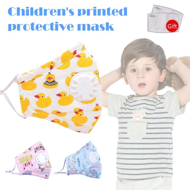 Kids Boys Girls Cotton PM2.5 Face Mask Cartoon Valved Anti Dust Fog Children Mouth Mask Adjustable Ear Loop Reusable Mascherine
