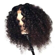 LUFFYHAIR wstępnie oskubane brazylijski Remy włosy kręcone koronkowa peruka na przód 13x6 głębokie rozstanie krótki Bob koronki przodu włosów ludzkich peruk dla kobiet