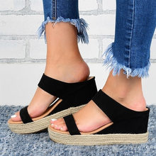 Women's Summer Retro Wedge Sandals Ladies Hemp Slides Causal Comfortable Slippers Woman Soft PU Leather Female Shoes 2020(China)