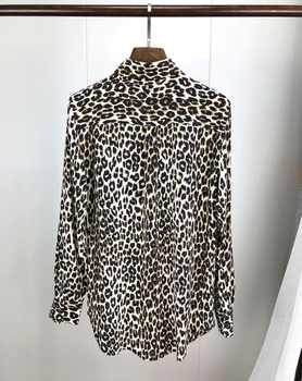 2019 Ne Spring Women Silk Leopard Print Shirt Long Sleeve Pocket Blouse Top