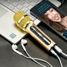 المحمولة المهنية كاريوكي مكثف ميكروفون الغناء تسجيل لايف ميكروفون للهاتف المحمول الكمبيوتر مع صدى كارت الصوت