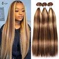 Выделите прямые человеческие волосы пряди P4/27 Мёд наращивания блонд, коричневый, пряди бразильских волос Волнистые пряди пучки человечески...