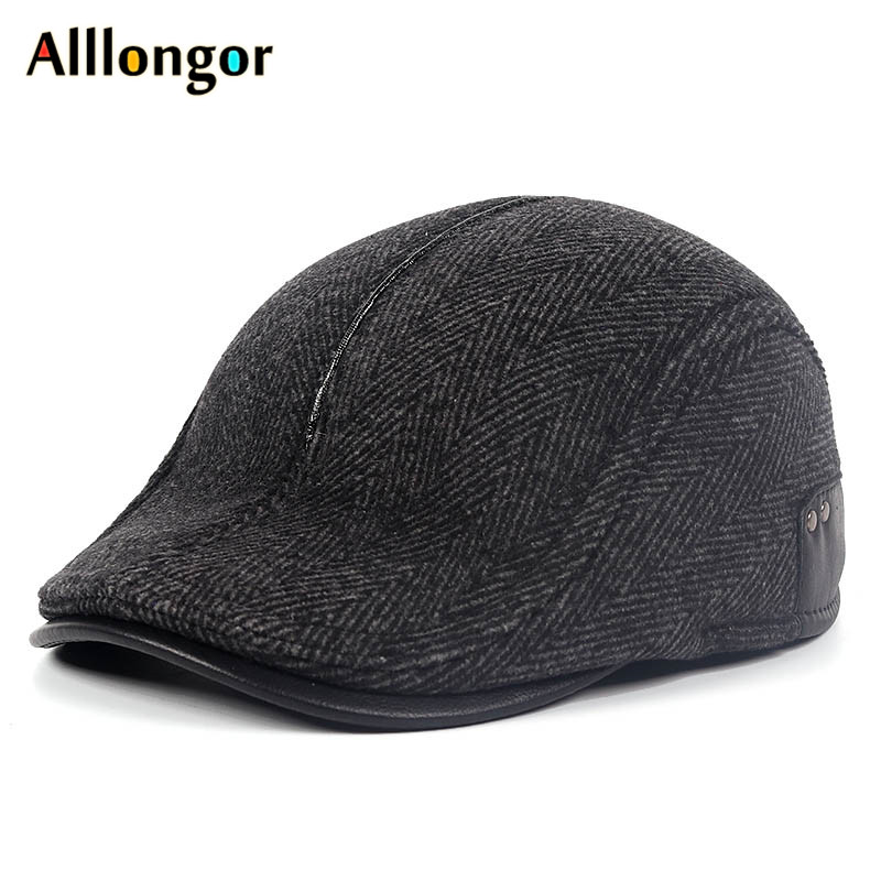 High Quality 2019 Winter Newsboy Caps Peaky Retro Earflap Hat Striped Beret Dad Hats Blinder For Men Cabbie Cap Flat Tweed Caps
