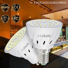 Прожектор удара GU10 светодиодная лампа MR16 лампада Сид E27 лампа E14 220 В свет лампы B22 пятно света 48 60 80leds внутреннего освещения лампа GU5.3 2835