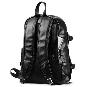 Image 2 - Erkek rahat okul Bookbag adam sırt çantası PU deri çanta su geçirmez omuz çantaları okul Packsack