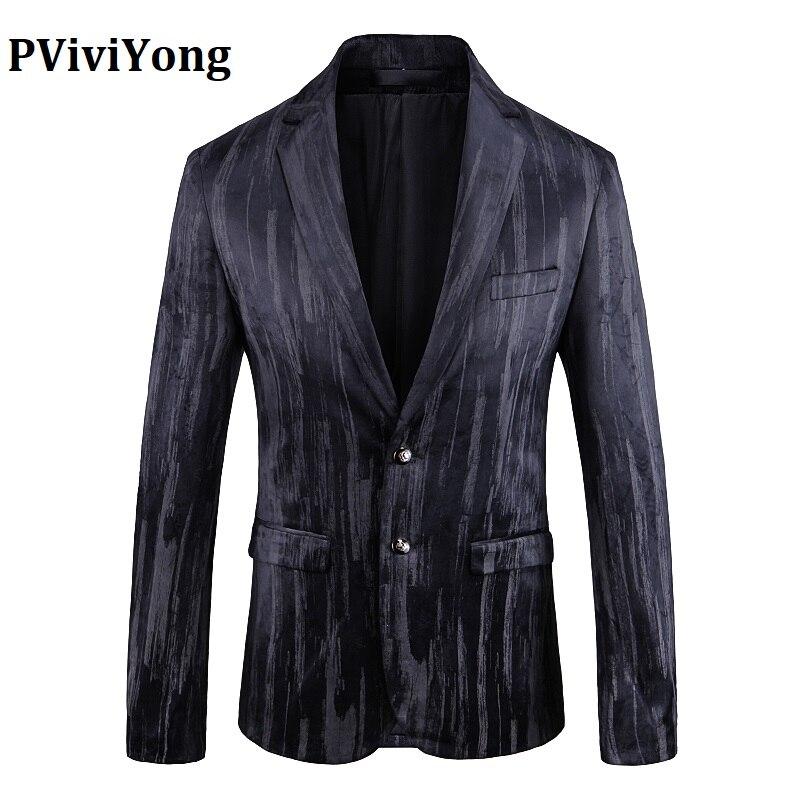 PViviYong Brand 2019 High Quality Suit Top For Men,men Blazer British Style Stripe Suit Men Slim Fit Suit Jacket Men 1928