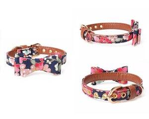 Image 3 - Benesaw PU leather Floral Bowtie smycz dla psa zestaw wygodny regulowany wyściełany szczeniak dla małych średnich psów