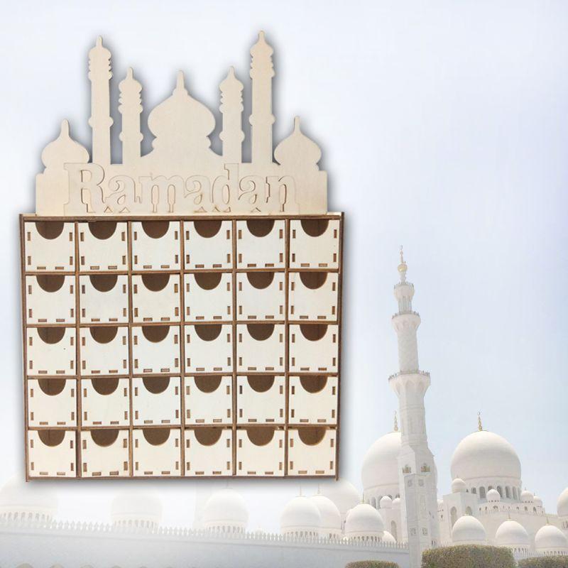 Wooden Eid Mubarak Ramadan Advent Calendar Countdown Drawer Muslim Islamic Castle Decorations Ornament