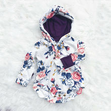 CANIS Autumn Newborn Baby Girls Long Sleeve Floral Printed Lovely Hooded Jumpsuit Bodysuit
