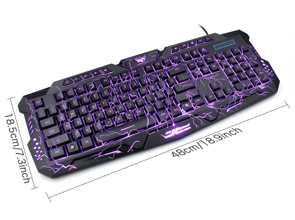 Darshion M300 Russian/English Backlit Keyboard LED USB Wired Colorful Breathing Waterproof Computer Crack Gaming Keyboard