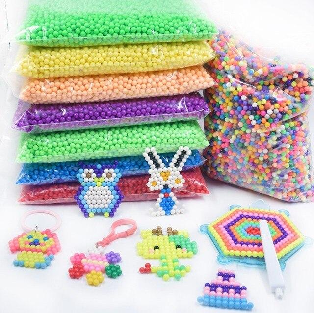 500 unids/set 30 colores 5mm agua perlas Spray aqua Magic Beads educativos 3D beads puzles accesorios para niños Juguetes