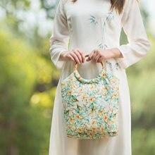 Дизайнерская Ретро женская сумка с бамбуковой ручкой тканевая