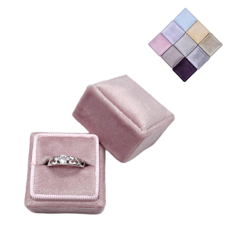 Velvet Single Ring Box Square Wedding Ceremony Ring Box With Detachable Lid