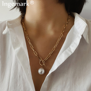 Gothic Baroque Pearl Pendant Choker Necklace for Women Wedding Punk Big Bead Lariat Gold Color Long Chain Necklace Jewelry(China)
