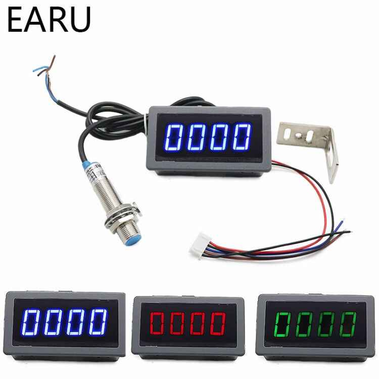 1Set 12V 24V Mengukur Gauge 4 Digital Biru/Hijau/Merah LED Tachometer RPM Kecepatan Meter 10-9999RPM Hall Proximity Switch Sensor NPN