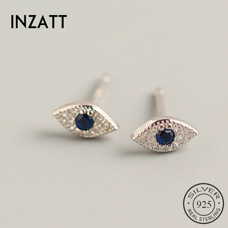 INZATT Real 925 Sterling Silver Blue Zircon Eye Stud Earrings For Fashion Woman Party Trendy Fine Jewelry Accessories GIFT