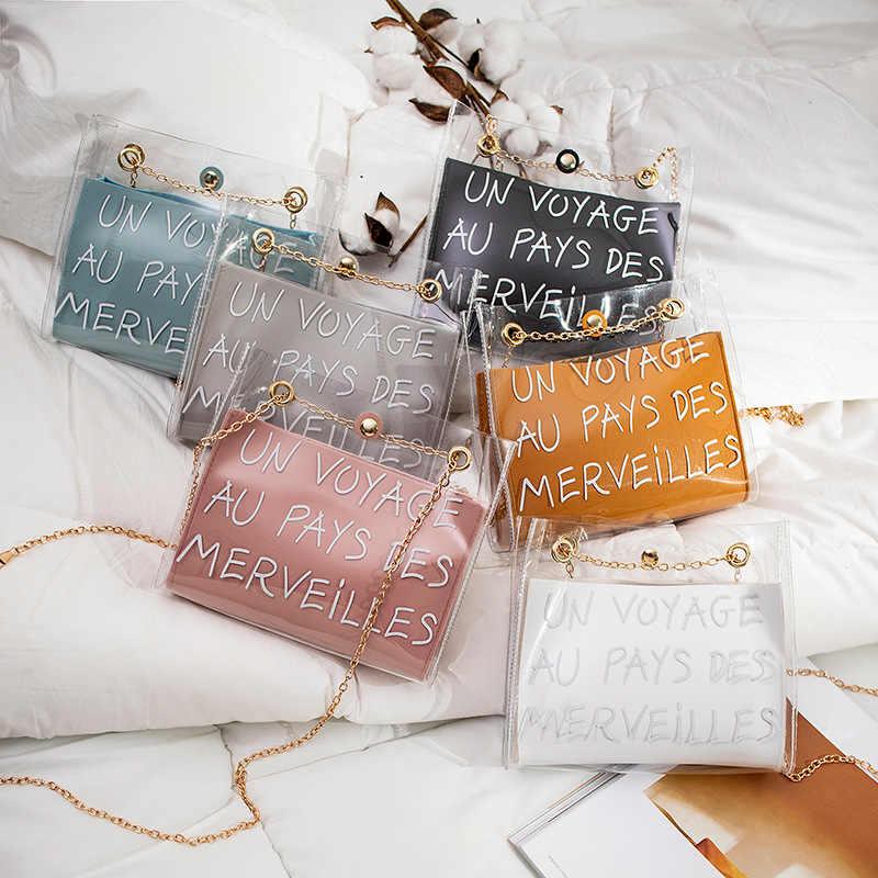 女性の手紙プリントショルダーバッグファッションチェーン pvc + pu 透明ピンクカジュアルバッグハンドバッグジッパーメッセンジャーバッグ嚢メインファム