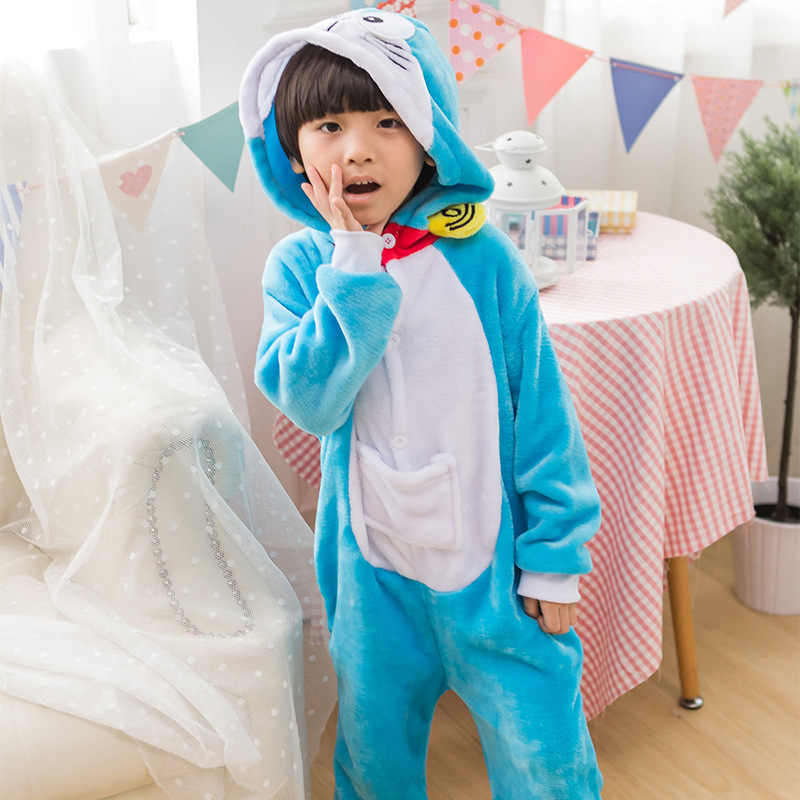 Trẻ em Bé Trai Gái Halloween Homecoming Trang Phục hóa Trang Động Vật Anime Doraemon Trang Phục Hóa Trang Dây Kéo Áo Hoodie Onesie Pyjama