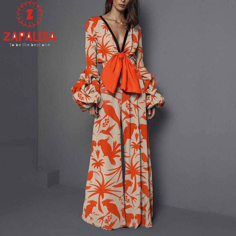 ลึก V เซ็กซี่ Flare แขนกว้างขาออกแบบ Street PARTY เสื้อผ้าผู้หญิง Slim BIRD Tree พิมพ์ผ้าพันคอ jumpsuit