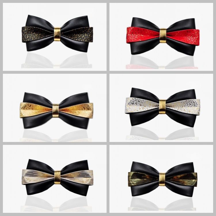 I-Remiel Vintage Fashion Gold Leather Bow Tie For Wedding Party Groom Bowtie Gifts For Guest Men's Flowers Necktie Accessories