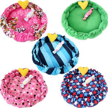 SJ Round Dog Bed For Small Dogs Bed Dogbed Legowisko Puppy Chihuahua Pet Bed For Dogs Sleeping Bed Litter For Dogs Beds Nest(China)