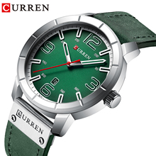 CURREN Men Quartz Wristwatches Male Clock Green Leather Wrist Watches Business Calendar Mens