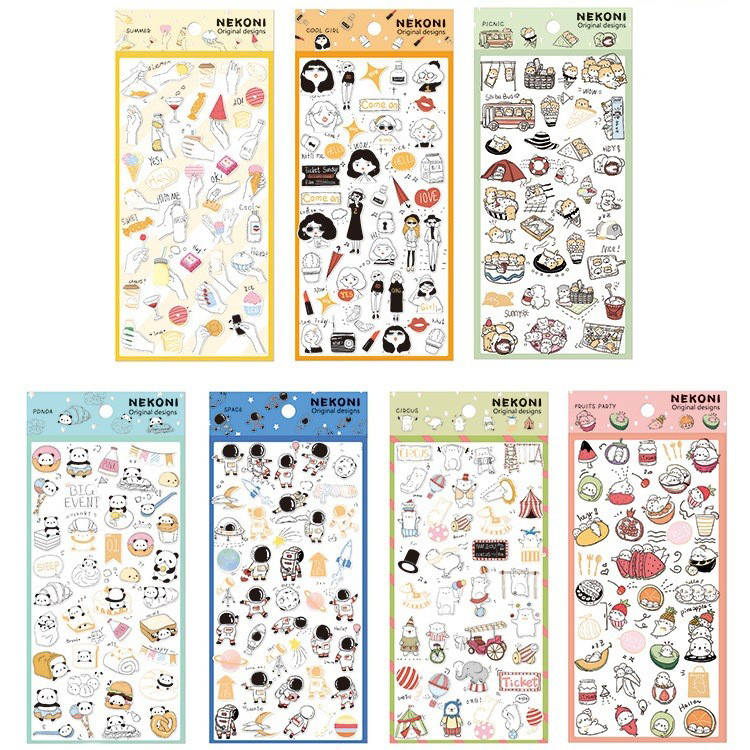 Kawaii Gourmet Panda Astronaut Cat Seal Bullet Journal Stationery Stickers Scrapbooking DIY Diary Album Stick Label
