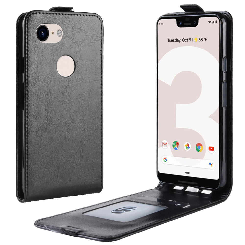 Pixel3a-XL Case For Google Pixel 3A XL (6.0In) Cover Down Open Style Flip Leather Case Card Slot Black A3 3AXL G020C G020G G020F