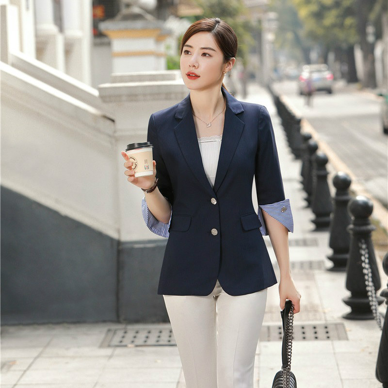Pink Female Elegant Formal Office Work Wear OL Spring Fall Fashion Casual Women Blazers and Jackets Half Sleeve Ladies Clothes