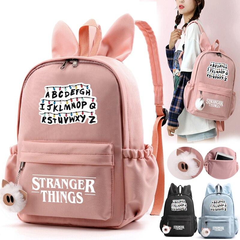 2019 New Stranger Things With Rabbit Ears Shoulder Bag Backpack Student Teenager Girls Cute Backpack Letters Print School