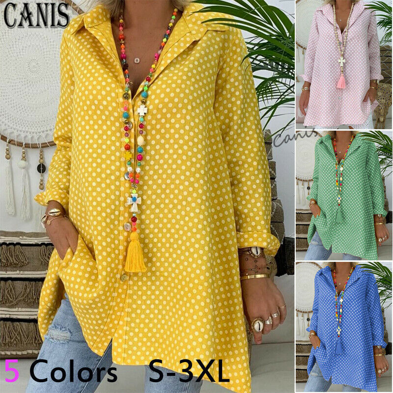 2020 HOT Selling Plus Size Women V-Neck Polka Dot Shirt Tops Long Sleeve Loose Blouse Ladies Tops High Quanlity