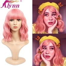 Alynn короткий кудрявый розовый парик синтетический парик с челкой фиолетовые Волнистые Косплей парики для женщин 16 дюймов Натуральные мягки...