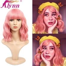 Alynn curto encaracolado rosa peruca sintética com franja roxo ondulado cosplay perucas para mulheres 16 Polegada natural macio cabelo resistente ao calor
