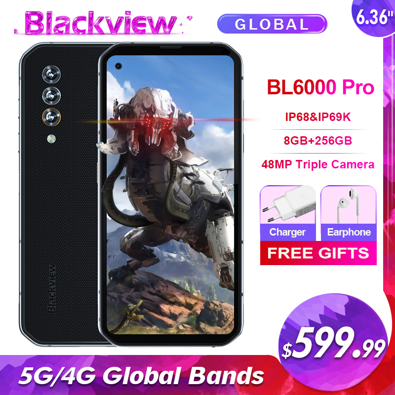 Blackview BL6000 Pro IP68 Waterproof 8GB+256GB 5G Smartphone 48MP Triple Camera 6.36'' Android 10.0 Global Bands 5G Mobile Phone