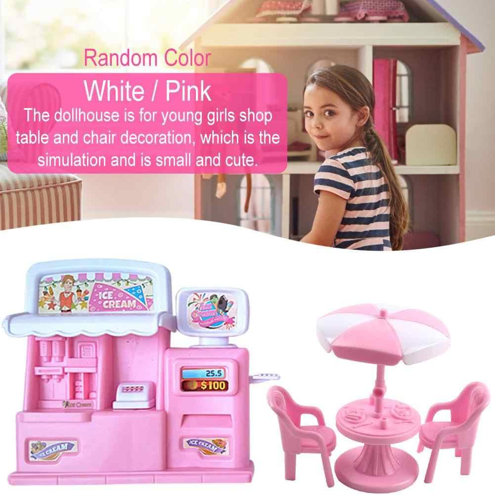 Muebles de casa de muñecas de simulación, tienda de helados, cocina, mesa de comedor, gabinete para niños, accesorios de juegos de simulación para niños