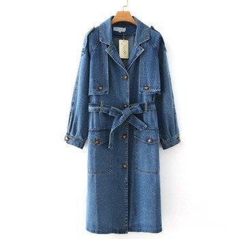 Oversize Denim Trench Coat Women Spring Autumn Cotton Jean Outerwear Plus size Long Windbreaker Casual Top Denim Cloak Coat KW49 1