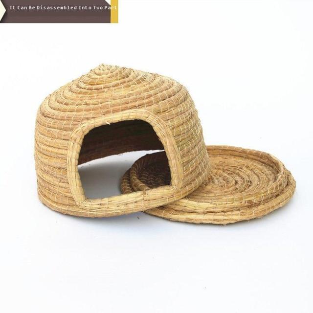 Small Pet Supplies Drop Ear Rabbit Nest Warm Grass Nest Guinea Pig Nest Dutch Pig Pet Products Hand Woven Castle Grass House 5
