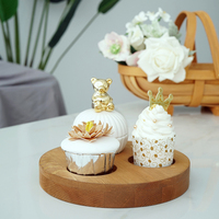 Rustic Style Wood Made Round Storage Tray Creative Vntage Candle Holder Cupcakes Plate Vase Holder Table Decor