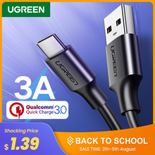 Ugreen USB Type C Charger Cable for Redmi note 8 Samsung Quick Charge 3.0 USB C Fast Charging Cable USB Type-C Wire For Huawei(China)