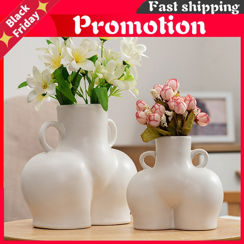 Ceramic Vase Butt Figurines Abstract Body Art Vases Dried Flowers Flower Arrangement Living Room Ornament Crafts Home Decoration