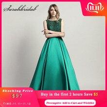 Magnifique Perlée Femme Soirée Robes De Cérémonie Longue Dubai O Cou Satin Longueur De Plancher UNE Ligne Formelle Robe De Bal Robes CC443