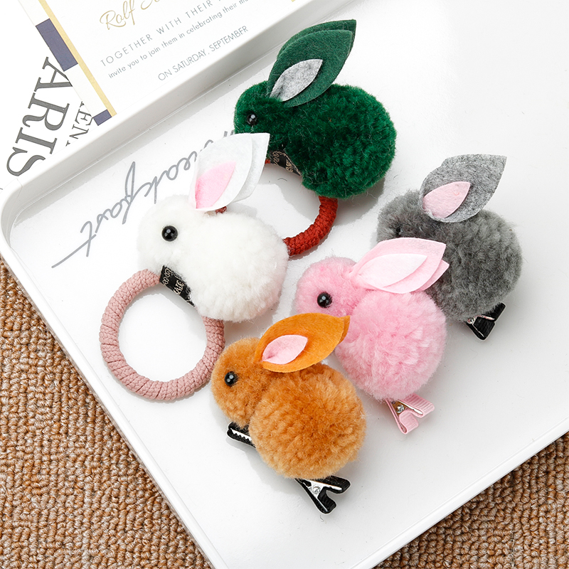 Girl Cute Rabbit Hair Ring Hairpin Korean Headdress Hair Ball Rubber Band Hair Rope Elastic Hair Band Children's Headdress