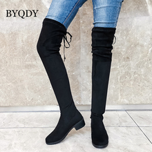 BYQDY New Sexy Elastic Flock Over The Knee Boots Women Shoes Autumn Winter Ladies High Hheel Long Thigh botas Plus Size 43